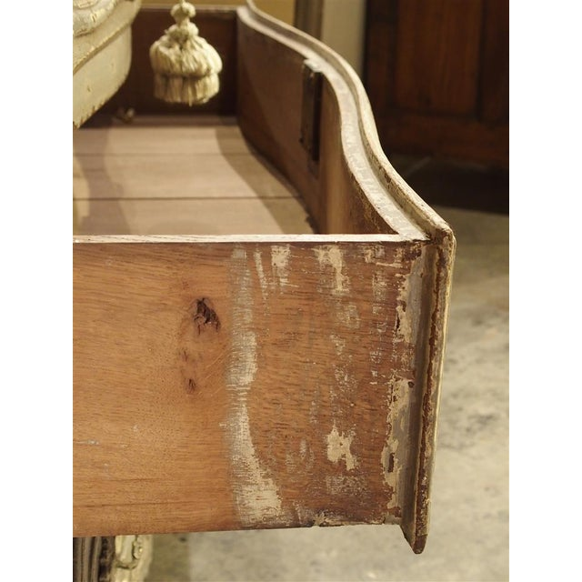 Late 19th Century Antique Louis XV Style Painted French Chest of Drawers with Marble Top For Sale - Image 5 of 10