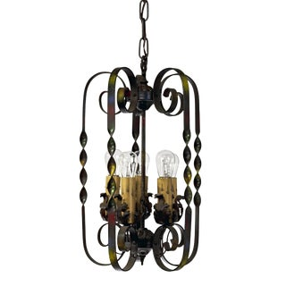 1920's Hand Painted Wrought Iron Five Cluster Lantern For Sale
