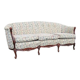 French Carved Long Solid Wood Sofa Couch For Sale