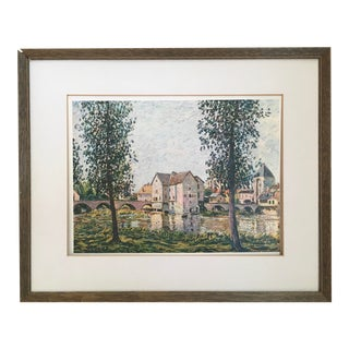 1930's French Countryside Print, Framed For Sale