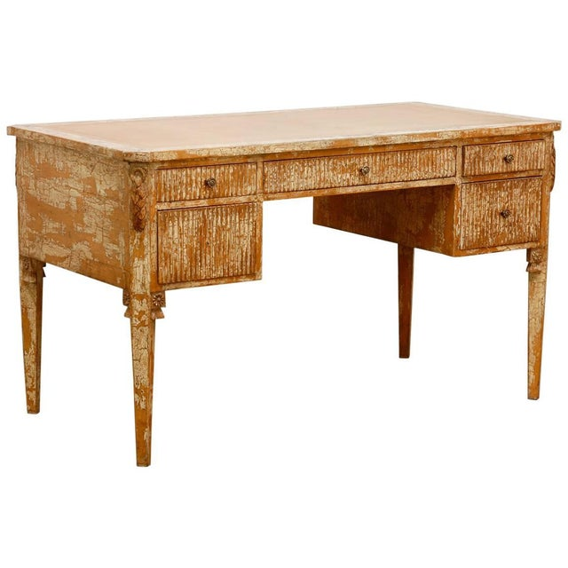 Neoclassical Leather Top Desk With Scraped Lacquer Finish For Sale - Image 13 of 13