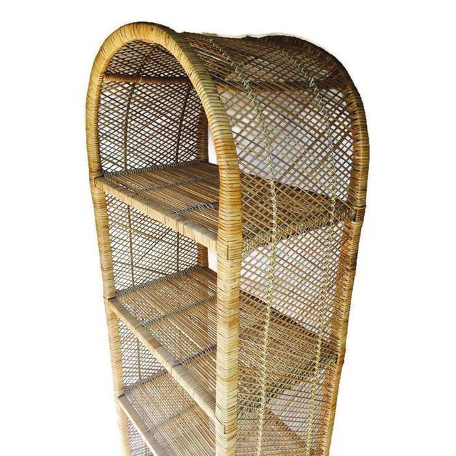 Tan 1970s Vintage Rattan Etagere Arched Bookcases - A Pair For Sale - Image 8 of 12