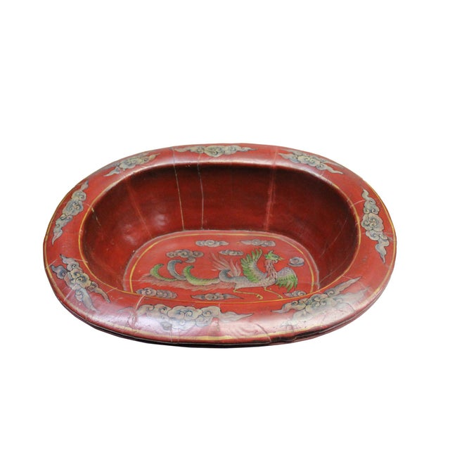 Chinese Vintage Distressed Red Flower Oval Shape Wood Bucket For Sale - Image 9 of 9