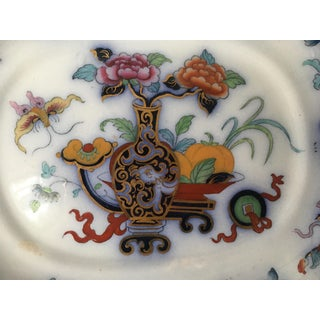 Antique English Ironstone Chinoiserie Blue Flow Footed Serving Dish Preview