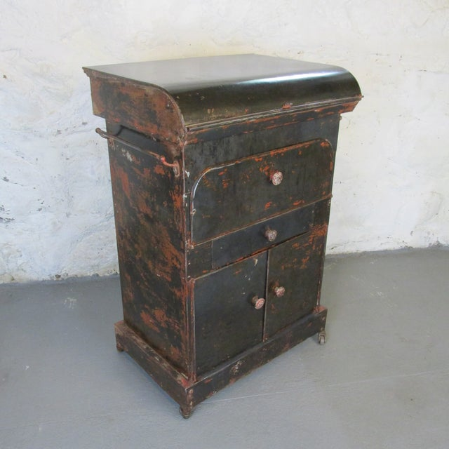 Antique Riveted Steel Campaign Style Vanity and Wash Basin For Sale - Image 13 of 13
