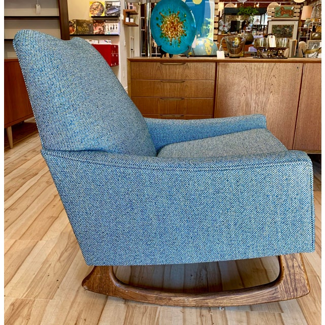 Blue Vintage Mid-Century Adrian Pearsall for Craft Associates Rocking Chair For Sale - Image 8 of 11