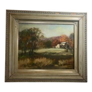 1950s Vintage Blakeslee Farmhouse Landscape Oil on Canvas Painting For Sale