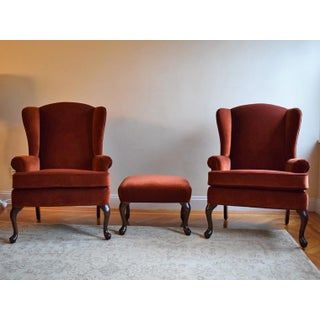 Vintage Velvet Wingback Chairs With Ottoman- 3 Pieces Preview