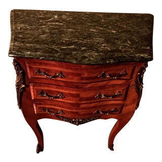 French Louis XVI Style Marble Top Inlaid Wood Commode For Sale