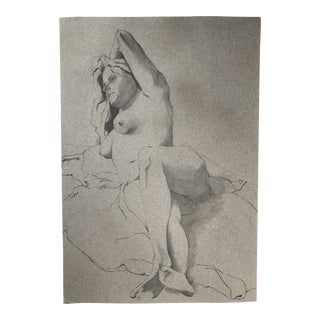 Reclining Female Nude Figure Drawing For Sale