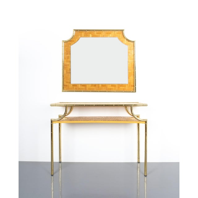 Bamboo Brass Console Table and Mirror, Italy 1950 For Sale - Image 13 of 13