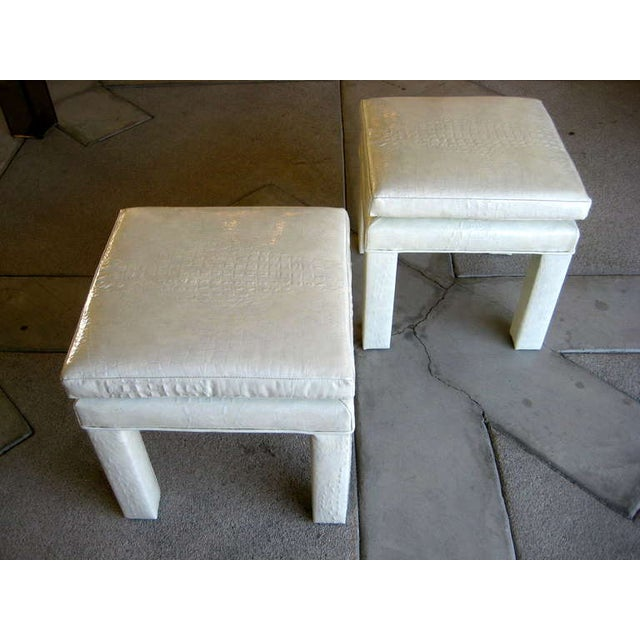 Croc Cream Leather Parson Style Stools - A Pair - Image 2 of 6