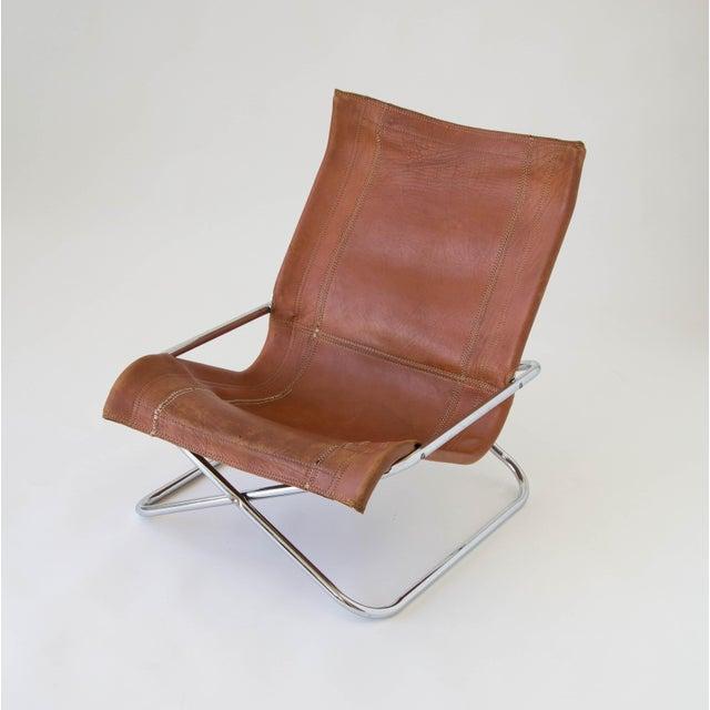 Sueki Uchida Leather Sling Chair For Sale - Image 7 of 9