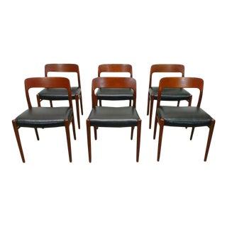 1960s Vintage J.L. Moller Danish Modern Black Dining Chairs- Set of 6 For Sale