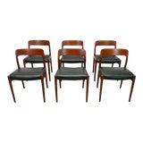 Image of Vintage j.l. Moller Danish Modern Black Dining Chairs- Set of 6 For Sale