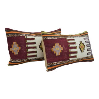 Vintage Turkish Kilim Rug Pillow Covers- A Pair For Sale