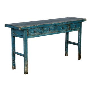 Chinese Blue Lacquered Elm Console/Sofa Table For Sale