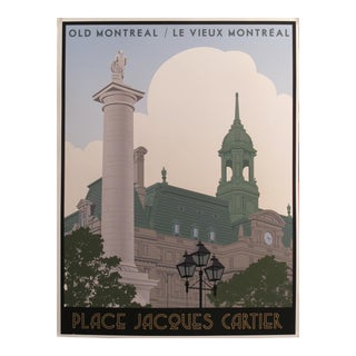 2012 Modern Retro Poster, Old Montreal/Vieux Montréal - Place Jacques Cartier For Sale