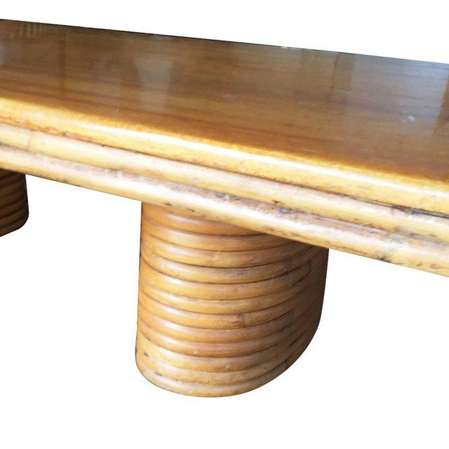 Restored Large Rectangle Rattan Coffee Table With Mahogany Top and Stacked Base - Image 4 of 4