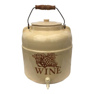 Vintage Stoneware Wine Dispenser & Lid