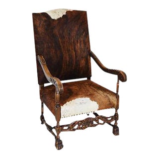 Antique Carved Oak & Cowhide Throne Armchair For Sale