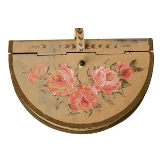 Vintage Hand Painted Floral Silent Butler Dust Pan