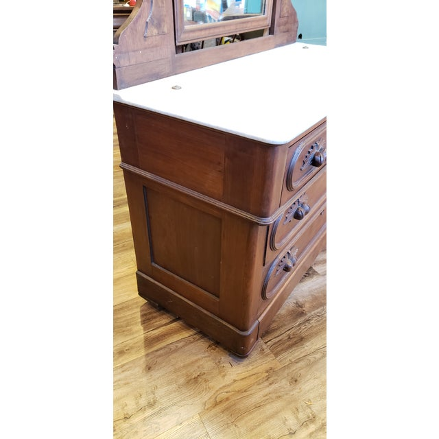 19th Century Antique Eastlake Style Dresser With Mirror and Hidden Drawer For Sale - Image 4 of 12