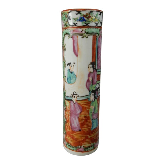 Antique Chinese Export Rose Medallion Cylinder Vase - Image 1 of 11