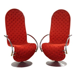 Verner Panton 1-2-3 System Lounge Chairs - a Pair For Sale