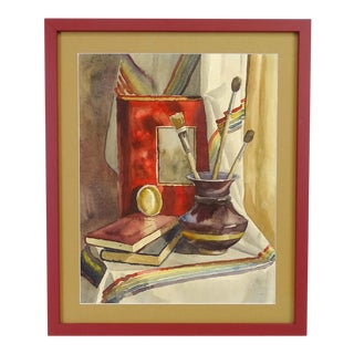 Late 20th Century American School Framed Still Life Watercolor Painting For Sale