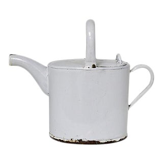 1920s French Enamel Short Reach Watering Can For Sale