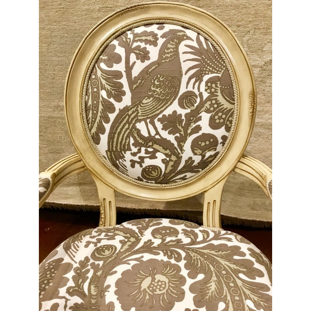 Fabric Taupe & Ivory Avery Chairs - a Pair For Sale - Image 7 of 8