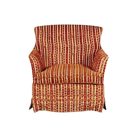 1950s Striped Fabric Lounge Chair - Image 1 of 5