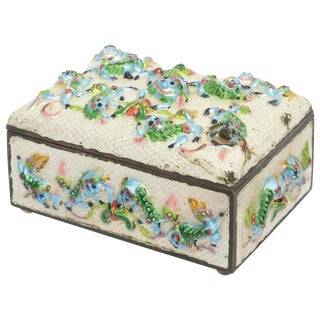 "Vintage Chinese Rare Metal and Enamel ""Good Luck"" Box For Sale"