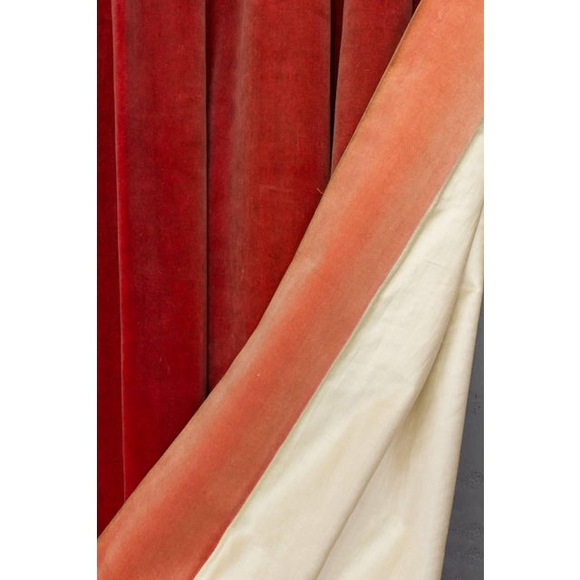 Red Two Pairs of Paprika Color Velvet Drapes For Sale - Image 8 of 11