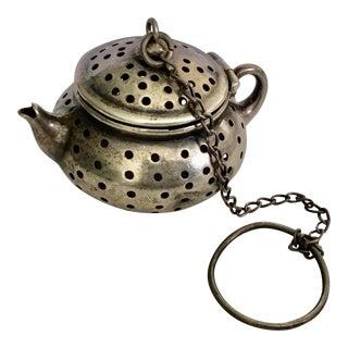 "Antique Sterling Silver "" Teapot"" Tea Strainer For Sale"