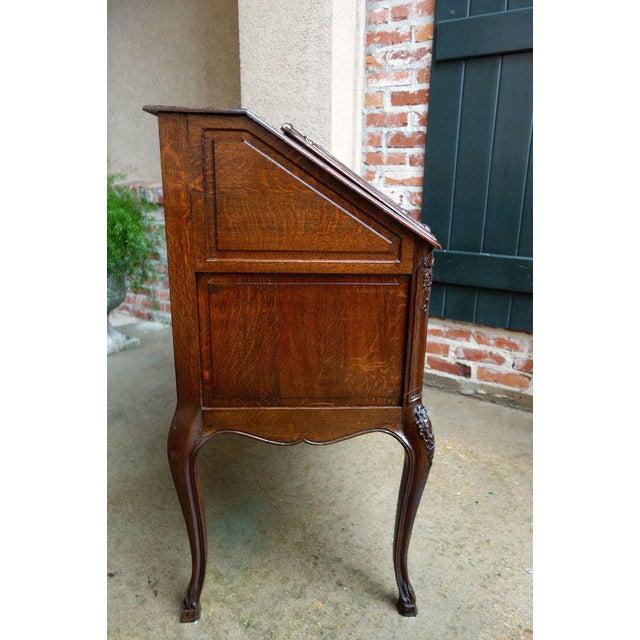 Antique French Carved Oak Secretary Desk For Sale - Image 9 of 11