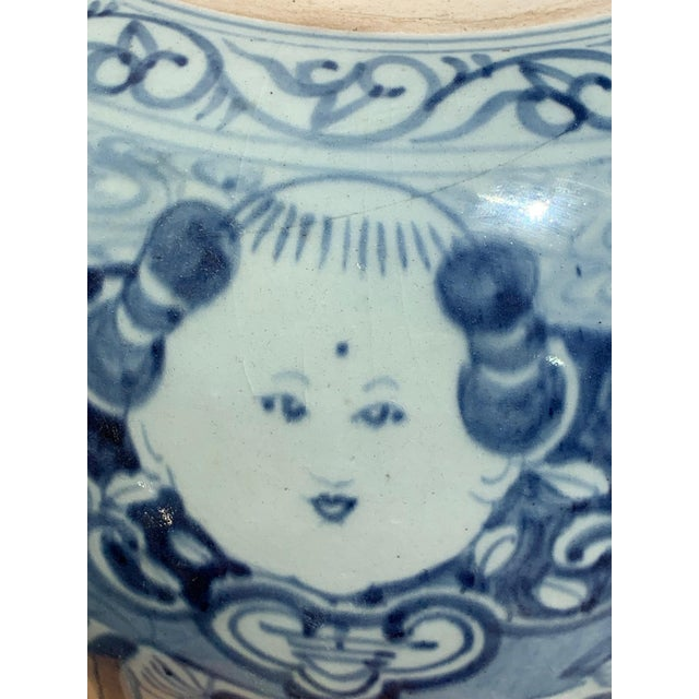 Ceramic Chinese Blue and White Rice Jar/ Ginger Jar for New Year For Sale - Image 7 of 12