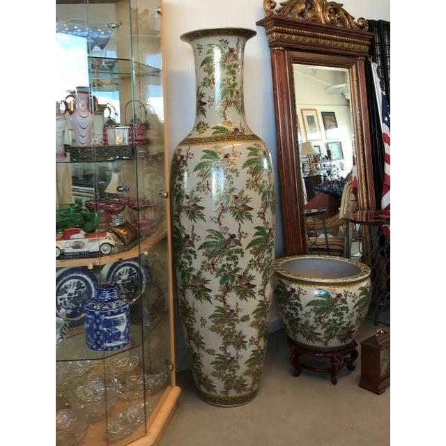 Hand Painted Tall Oriental Floor Vase Chairish