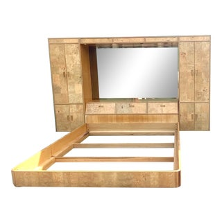 Midcentury Hendredon Scene Two Burl Wood Platform Bed For Sale