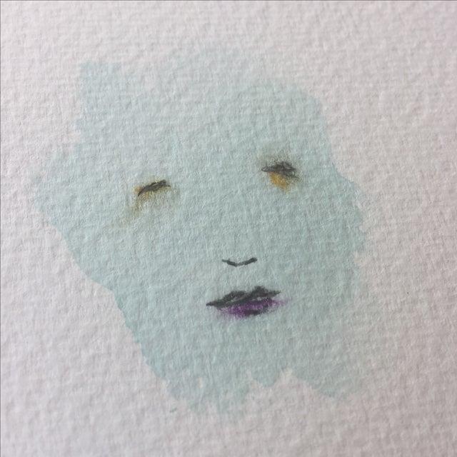 """Minimal Face 006"" Mixed Media Painting - Image 3 of 5"