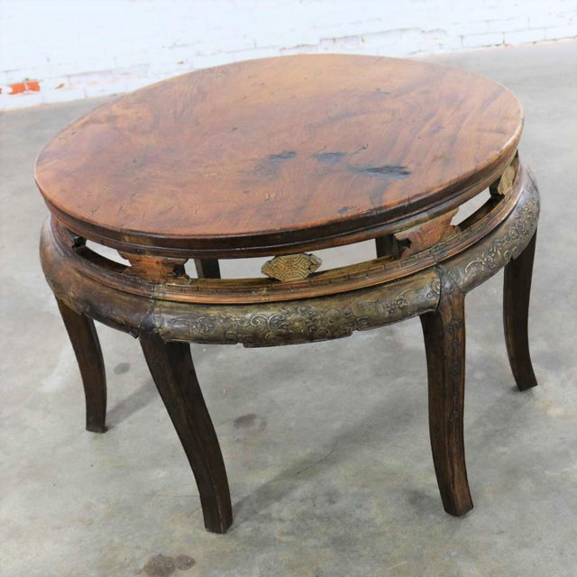 Asian Antique Chinese Round Center Table Hand Carved Elm For Sale - Image 3 of 13
