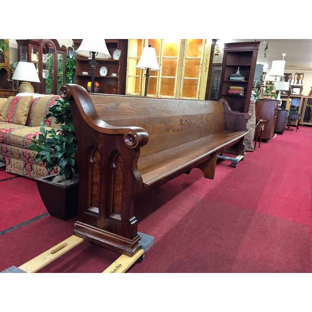 Antique Walnut and Ash Church Pew For Sale - Image 10 of 10
