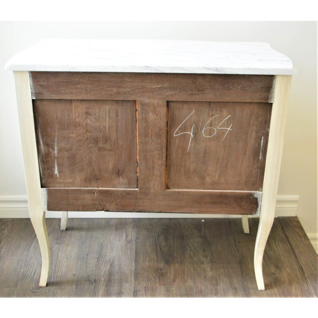 Antique White French Louis XV Style Painted Petite Commode With New Carrara Marble Top For Sale - Image 8 of 9