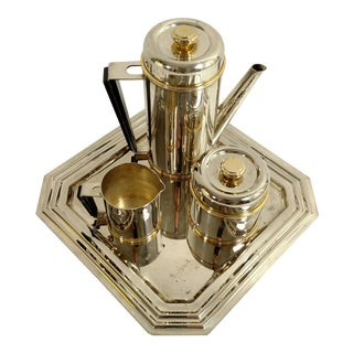 Art Deco Styled Silver Plate Tea Set For Sale