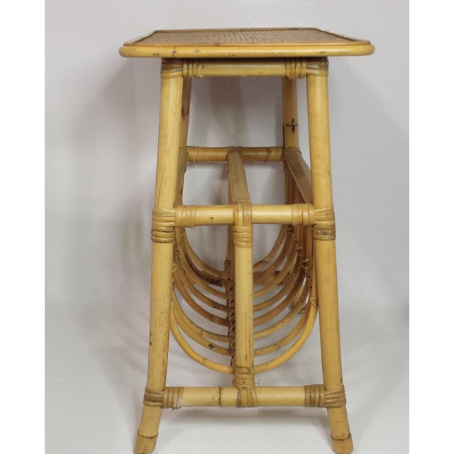 Late 20th Century Vintage Mid Century Bamboo Rattan Magazine Rack Side Table For Sale - Image 5 of 8