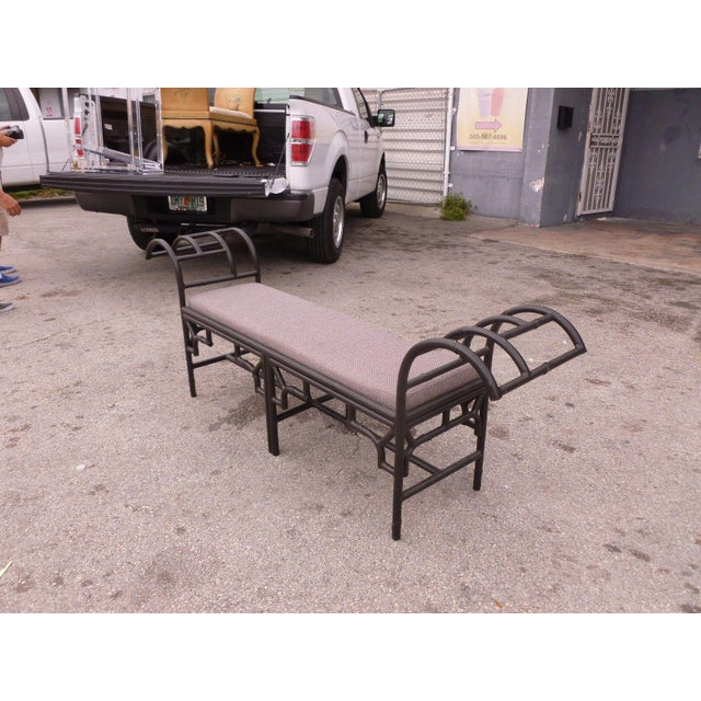 1990's Vintage Post Modern Chinese Chippendale Metal Bench For Sale - Image 4 of 12