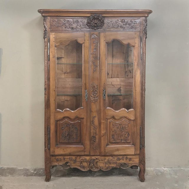 19th Century Country French Provincial Walnut Vitrine ~ Bookcase For Sale - Image 13 of 13