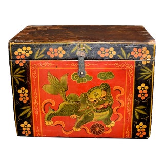 Antique Tibetan Box Hand Painted Box 5 For Sale