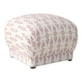 Image of Square Ottoman in Chan Damask Blush Oga For Sale